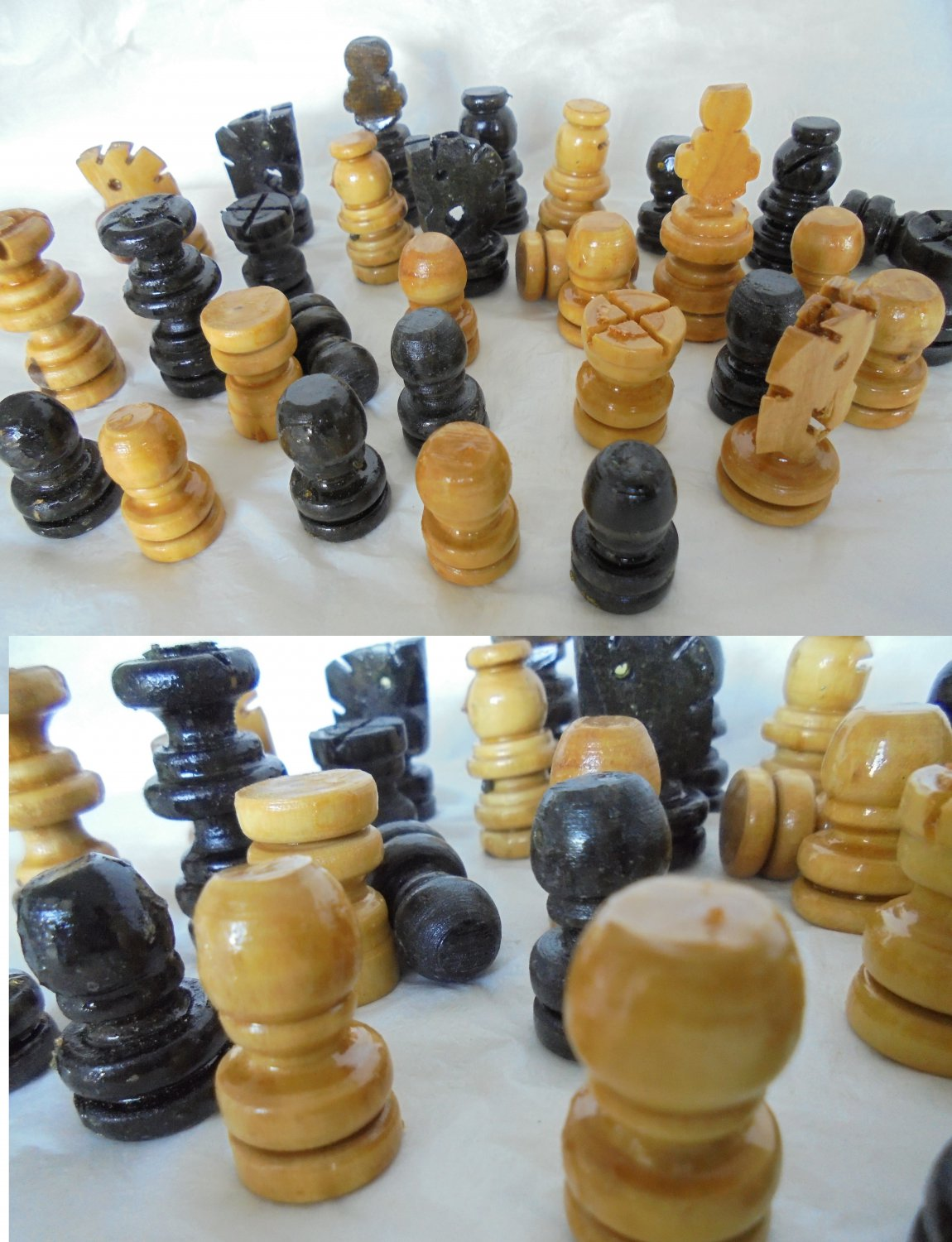 WOOD CHESS SET carved and complete in wood Original 1970s