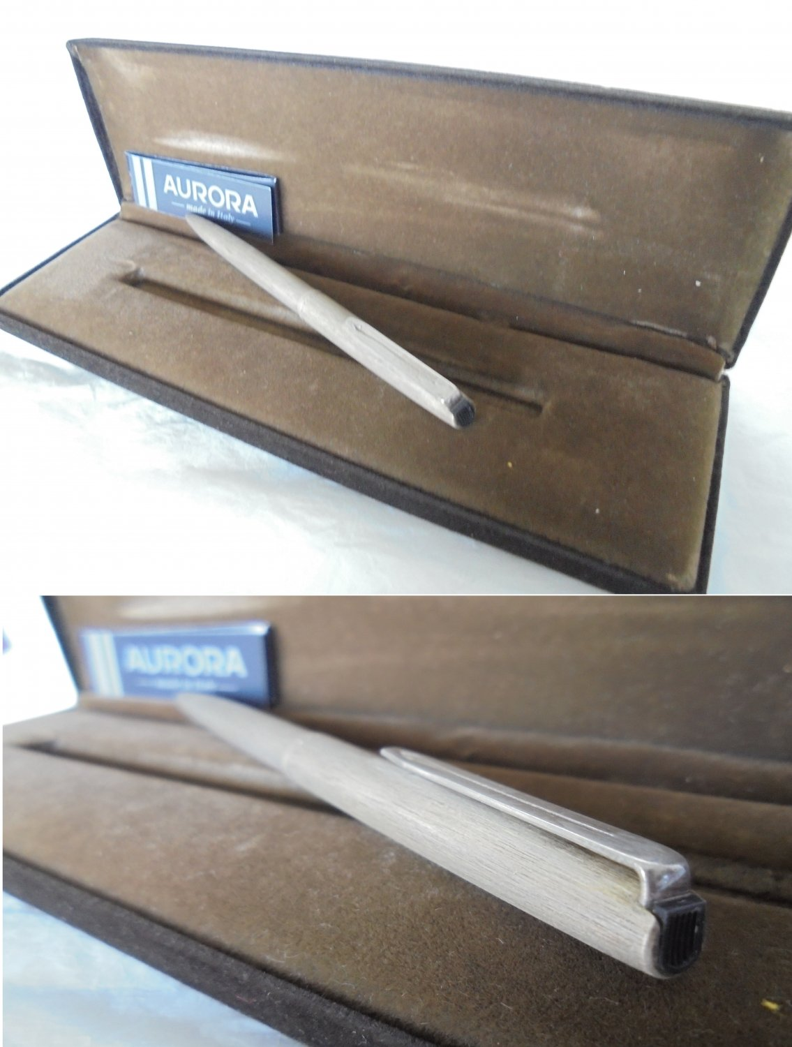 AURORA 98 ball point pen in brushed STERLING SILVER 925 In gift box