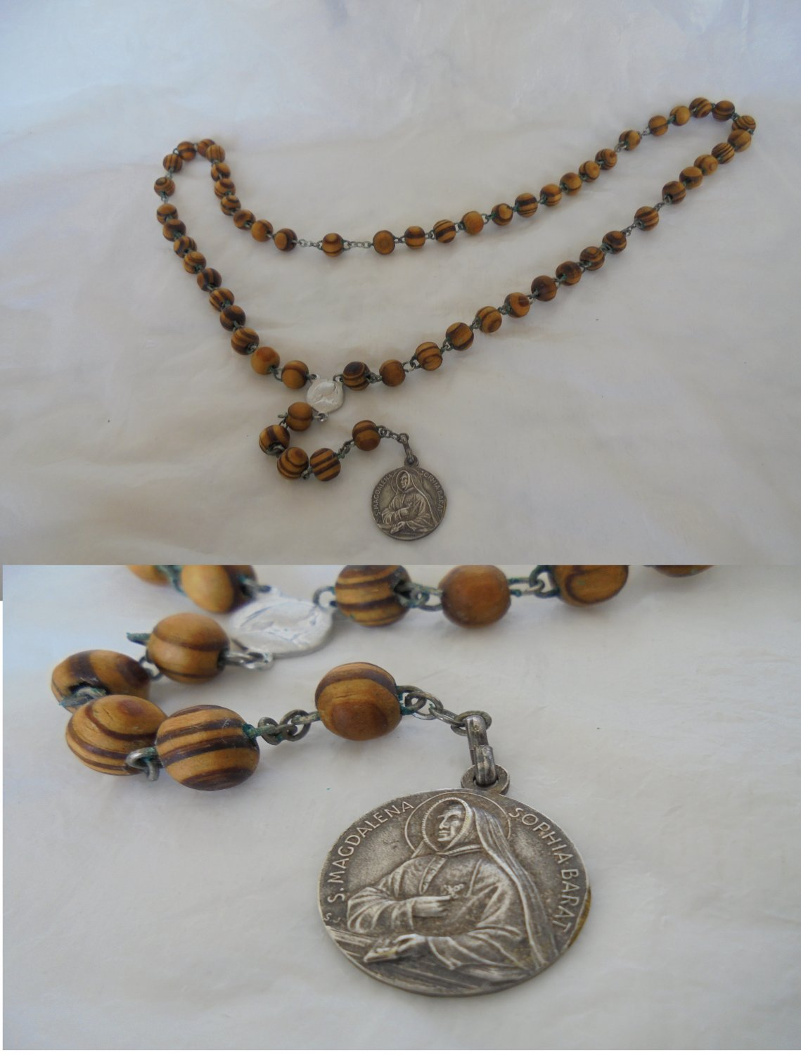 Praying rosary in olive wood and in silver 800 of Saint Madeleine Sophie Barat