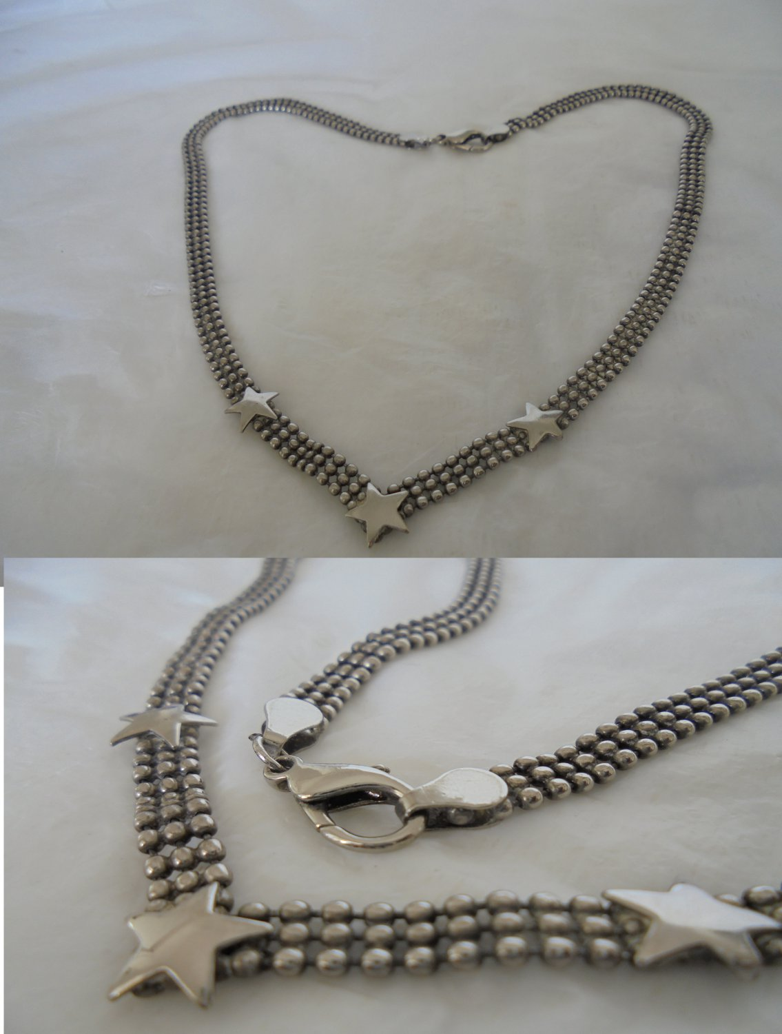 NECKLACE collier in STERLING silver 925 with 3 STARS Original in gift pochette