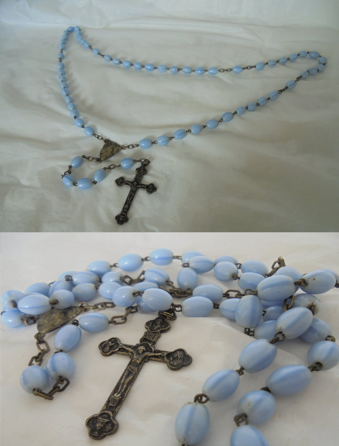 PRAYING ROSARY necklace in Murano blue glass Souvenier of Roma Italy Original 1950s