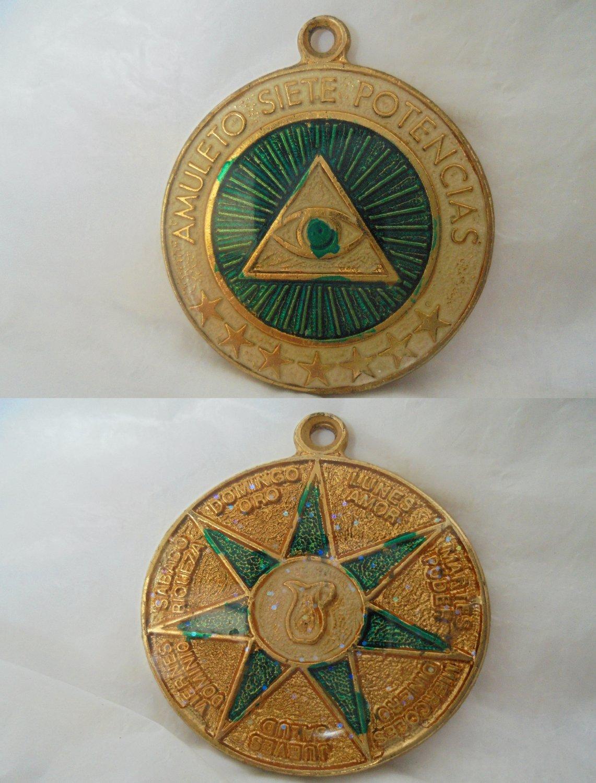 ESOTERIC MEDAL Lacquè green Masonery Freemasonery Spain 1990