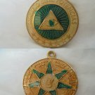 ESOTERIC MEDAL Lacquè green Masonery Freemasonery Spain 1990