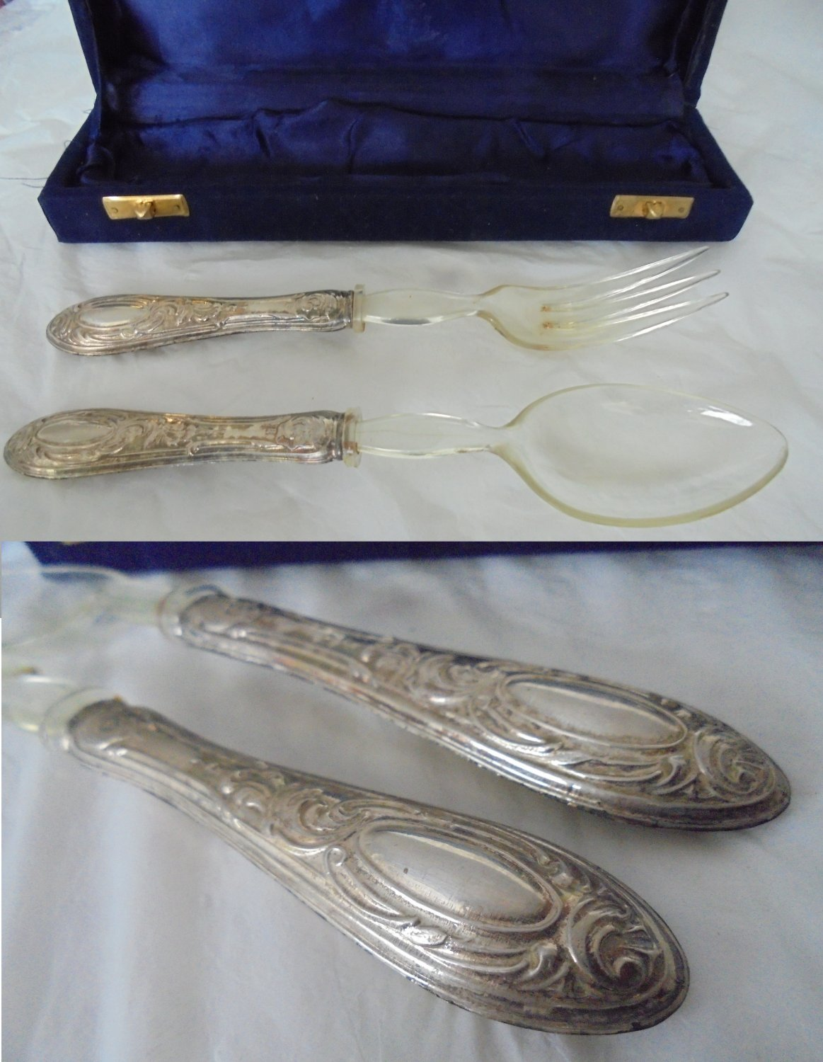 Serving set of big FORK and SPOON in SILVER 800 for salads 1950s +Gift box