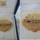 BROOCH VICTORIAN DESIGN with white crystals Original 1980s