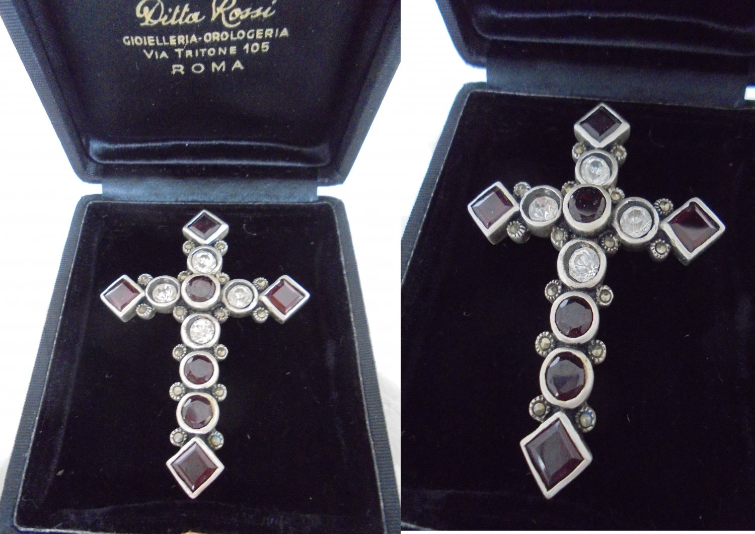 CRUCIFIX cross pendent charm for necklace in SILVER STERLING 925 and Swarovski crystals