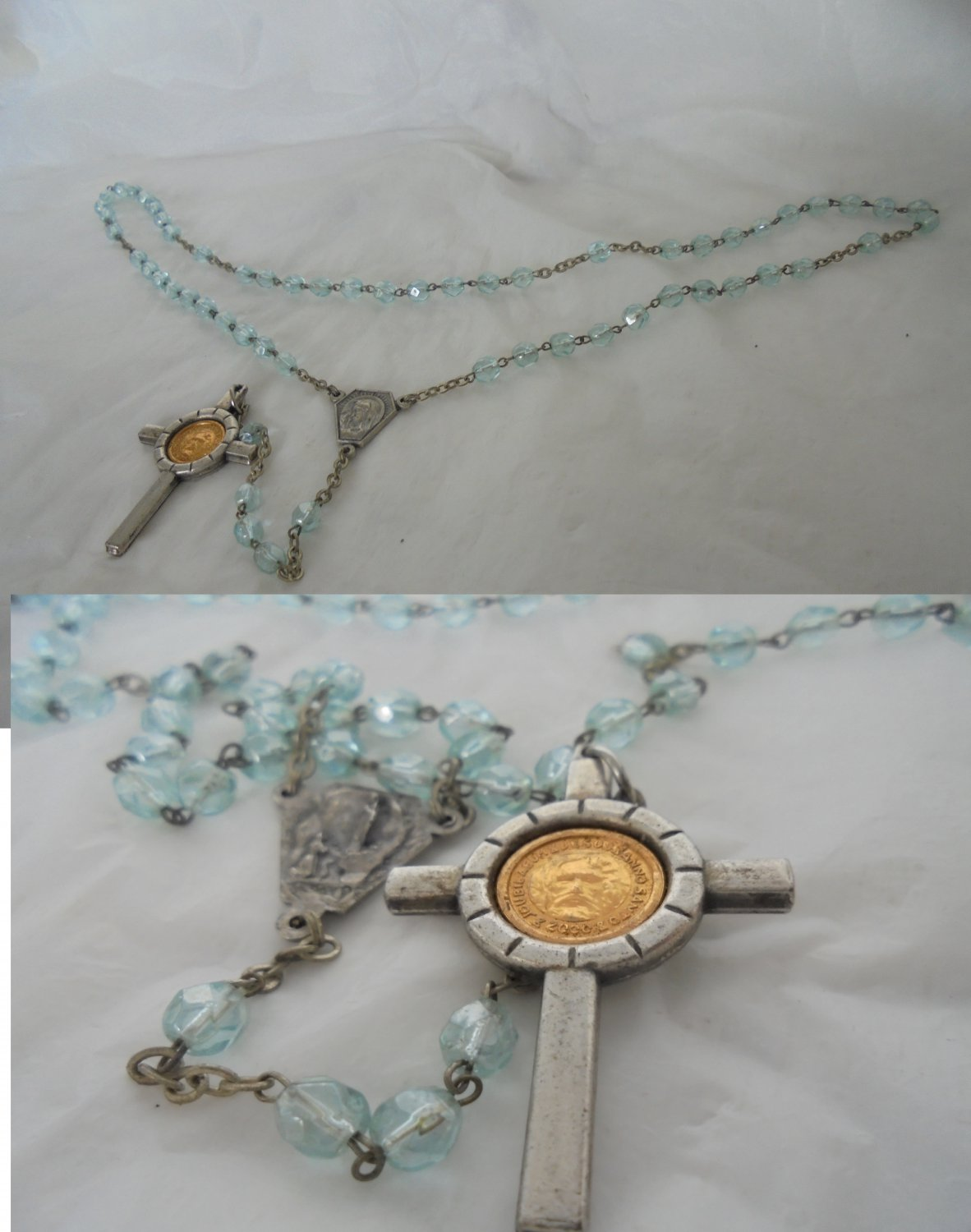 Praying ROSARY NECKLACE Jubilee 2000 Original Rome Italy