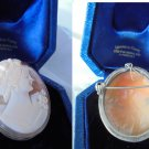 CAMEO brooch or pendent in SILVER 800 and SHELL Original Napoli Italy 1950s +gift box