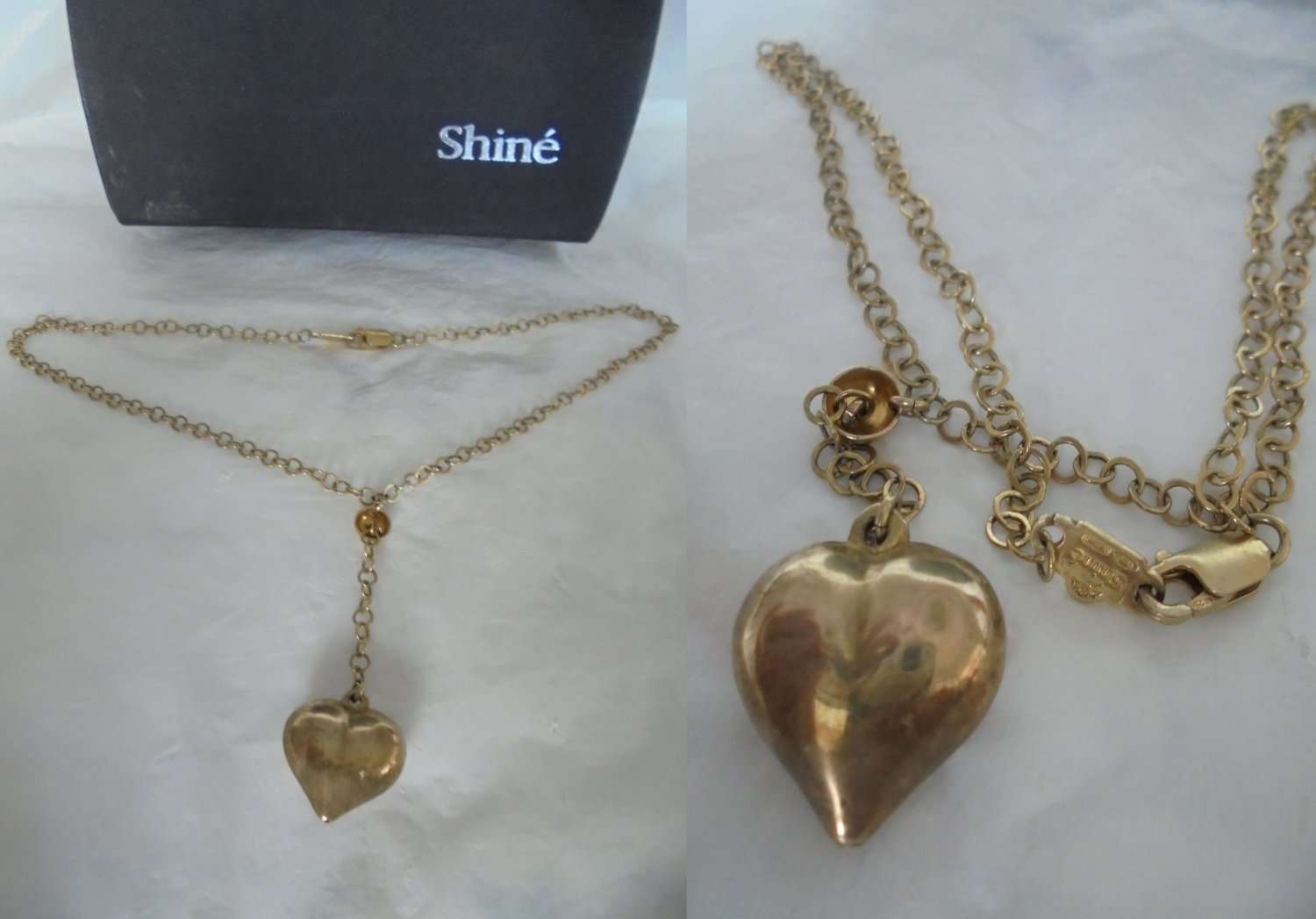 Shinè NECKLACE in STERLING SILVER 925 and gold plated with heart charm pendent In gift box