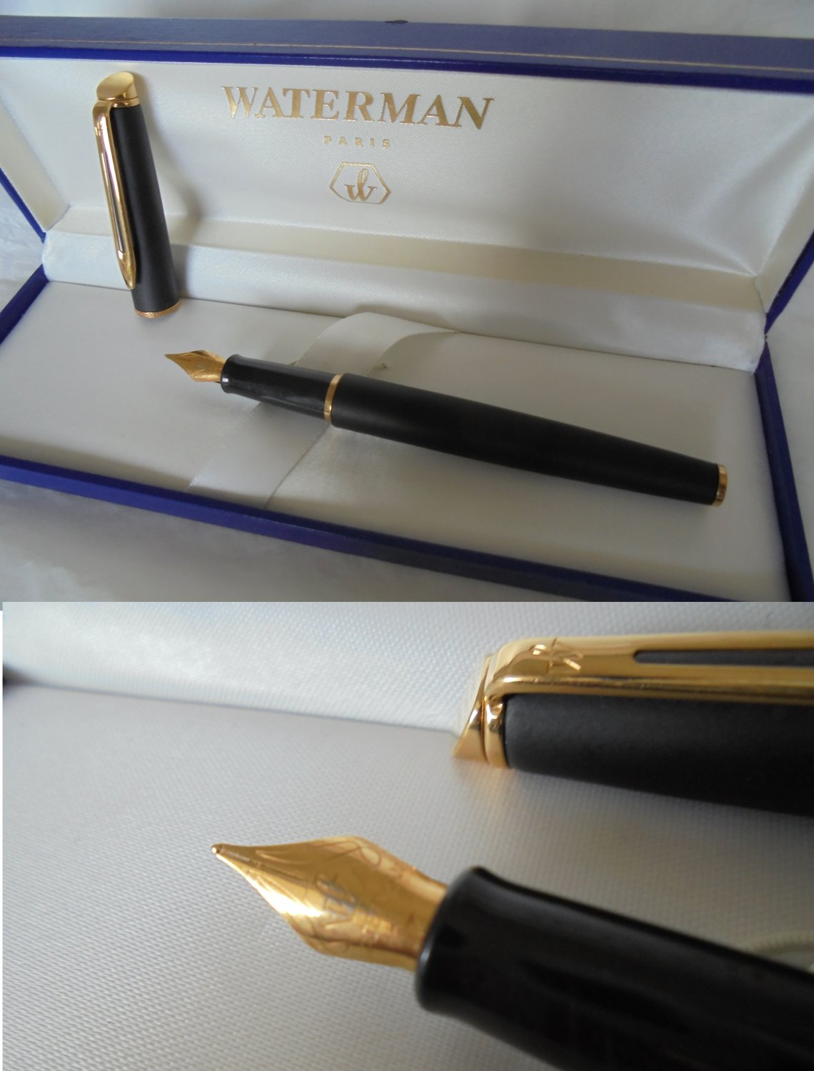 WATERMAN HEMISPHERE fountain pen in matte black and gold + gift box