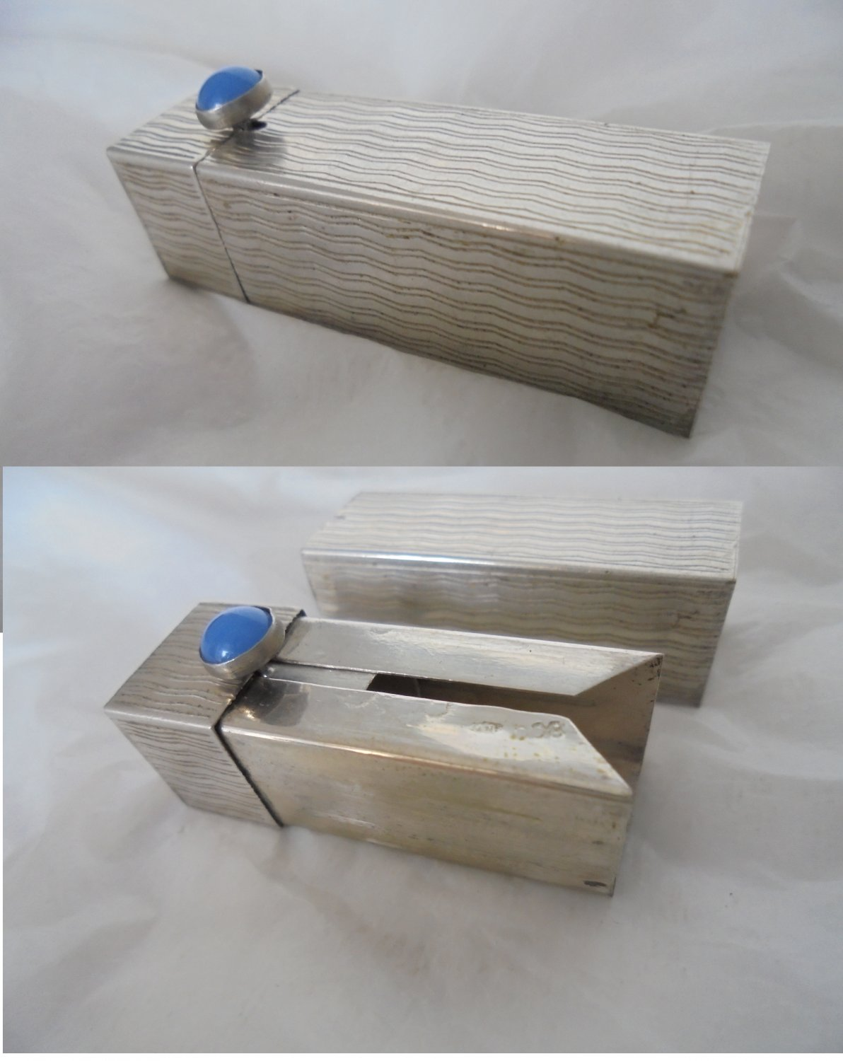 LIPSTICK stick holder case in SILVER 800 with blue stone Art DECO Original from 1950s