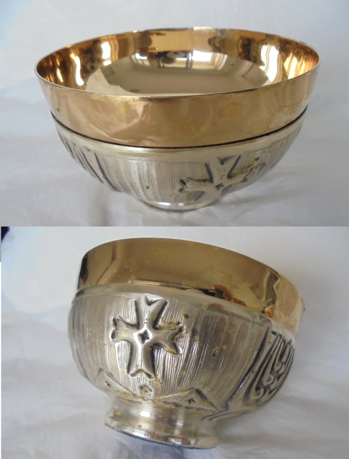 CIBARIUM COMMUNION CUP in silver and gold plated Original 1960s