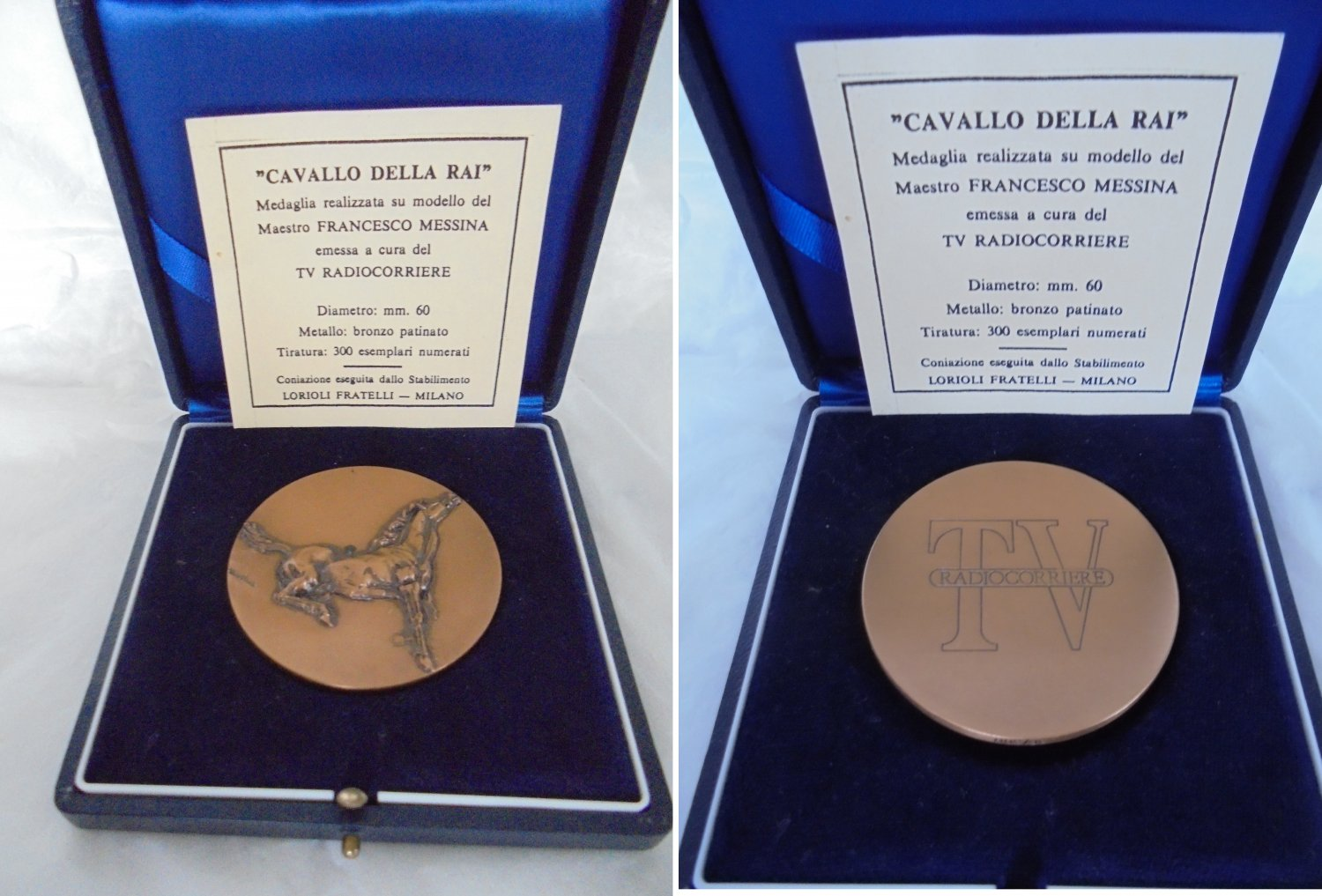 BRONZE medal RAI Italian TV Engraved by Messina Limited ed of only 300