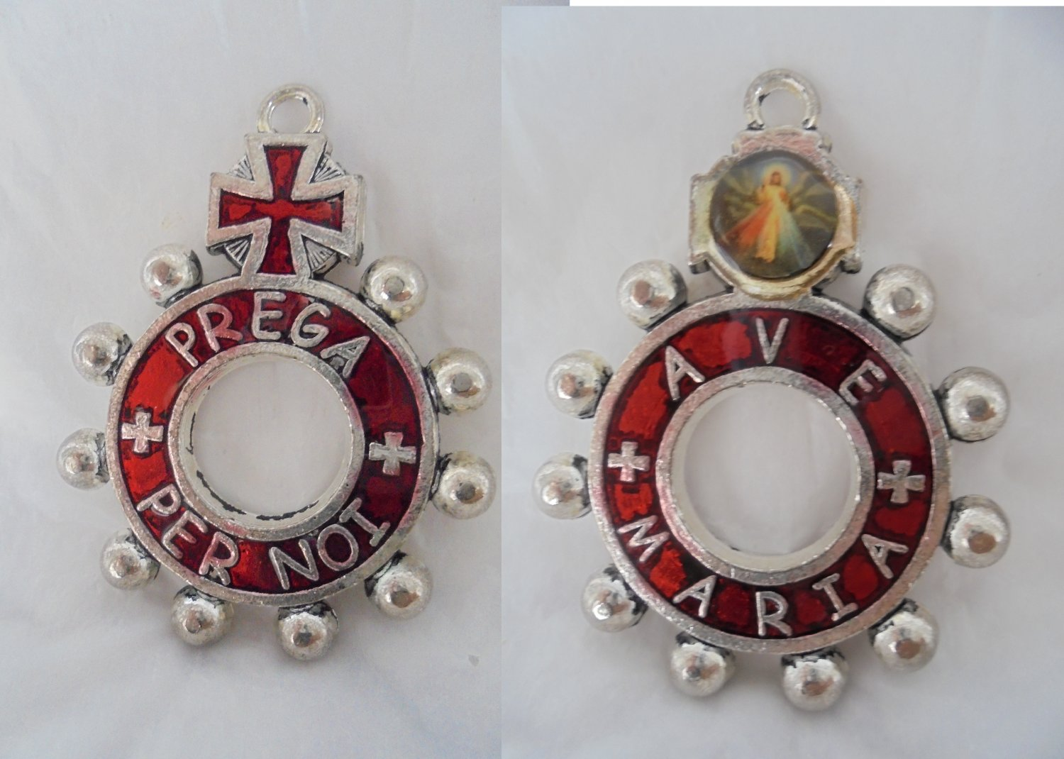 Praying ROSARY BOY SCOUTS ring lacqe in red color Original