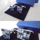 SWAROVSKI CUFFLINKS cuff links with Blue crystals Original in gift box