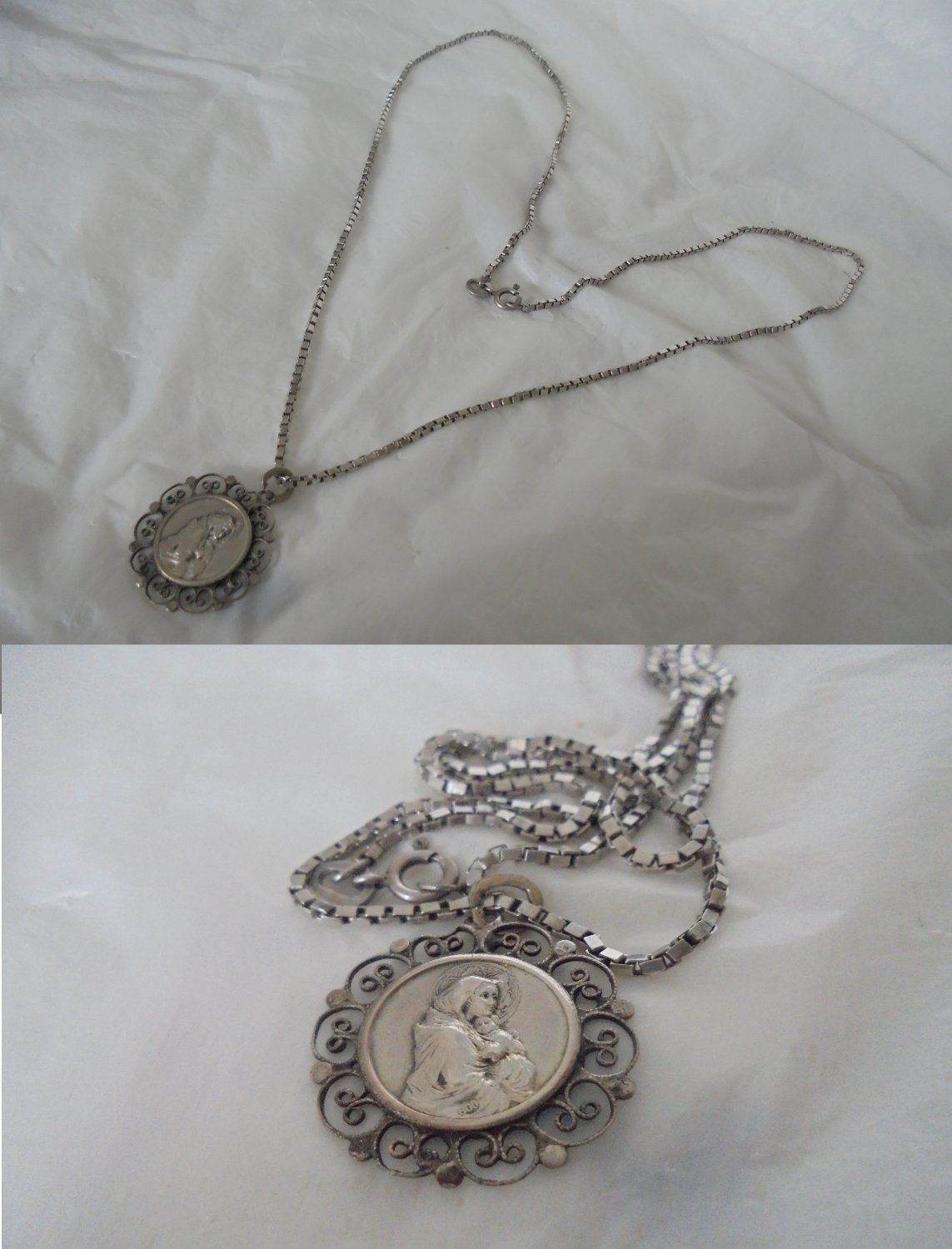 NECKLACE CHAIN in sterling silver 925 Madonna Vergin Mary pendent silver 800 Original 1970s