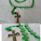 ROSARY Praying NECKLACE in Murano green glass Knights of Malta Original Italy