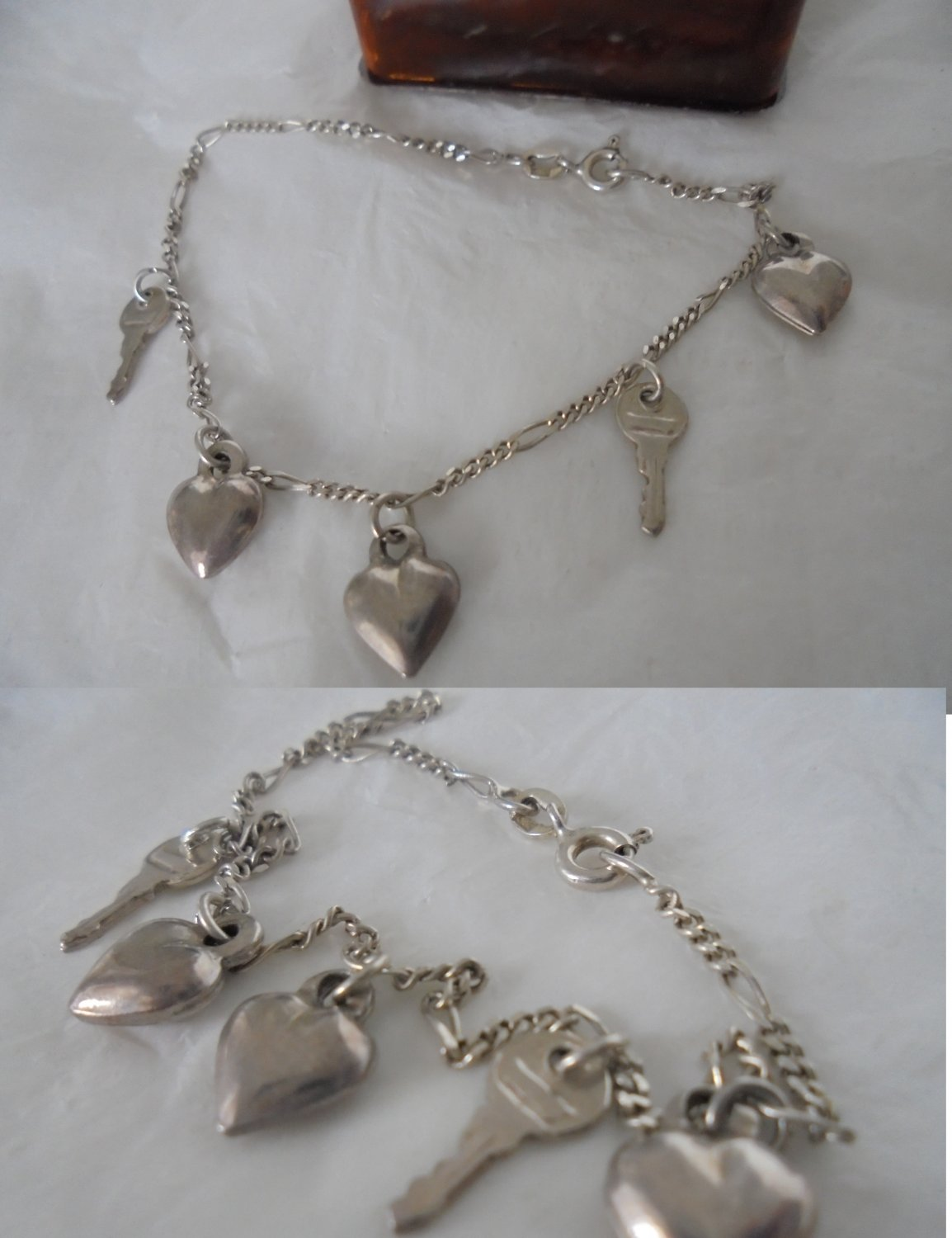 BRACELET in sterling silver 925 with HEARTS and KEYS charms Original in gift box