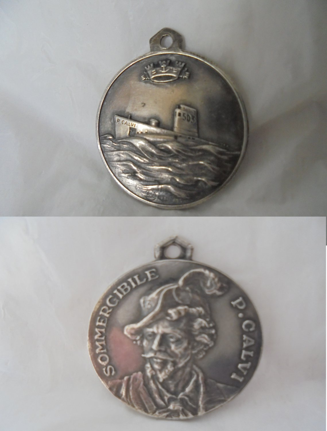 MEDAL pendent in SILVER 800 Military submarine CAVI N.503 Italy  1950s