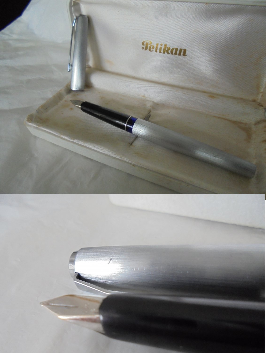 PELIKAN 21 SILVEXA in brushed steel and in white GOLD 14K Original in gift box