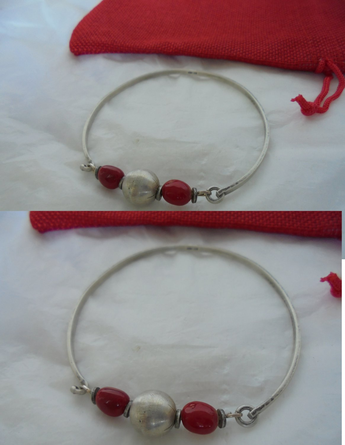 BRACELET in SILVER 800 and red CORAL from Napoli Italy Original 1960s