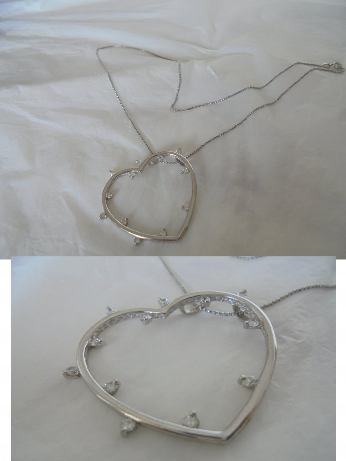 NECKLACE and HEART PENDENT charm in sterling silver 925 with Swarovski white crystals
