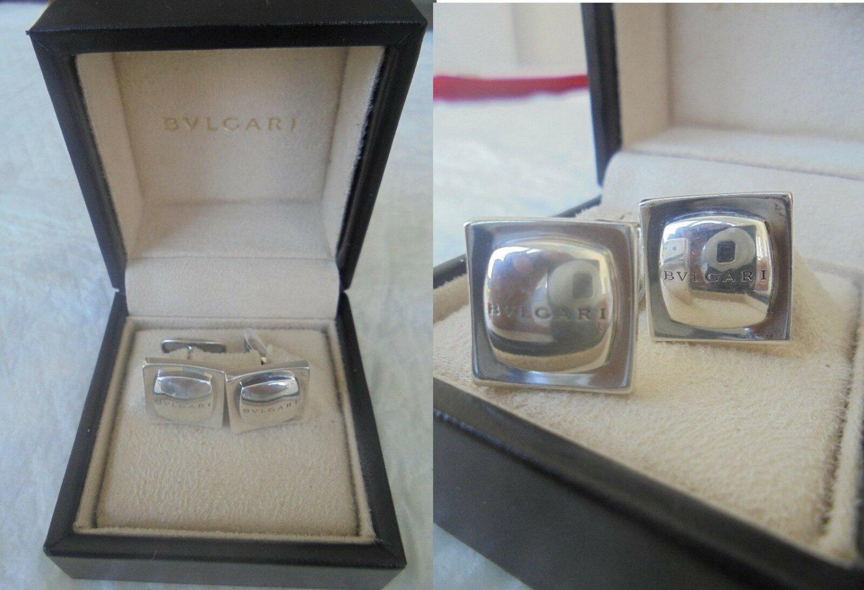 BULGARI CUFFLINKS in Sterling SILVER 925 Original cuff links in gift box