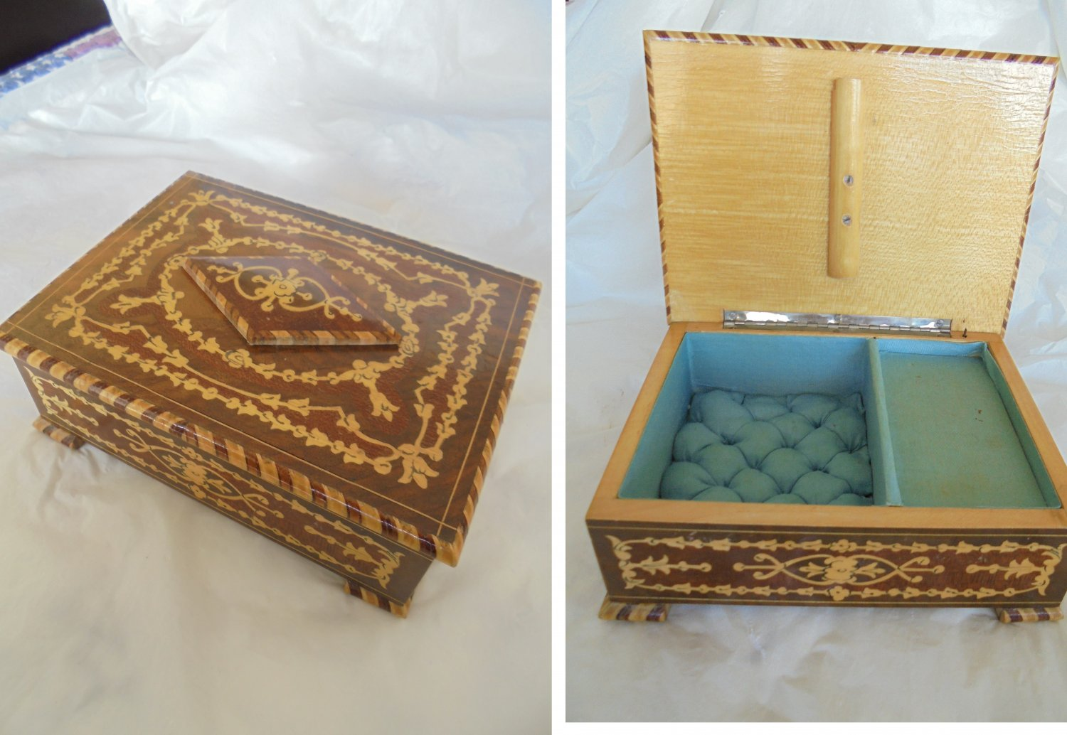 CARILLON JEWELS Music BOX in arabesque wood work from Salerno Italy Original 1950s