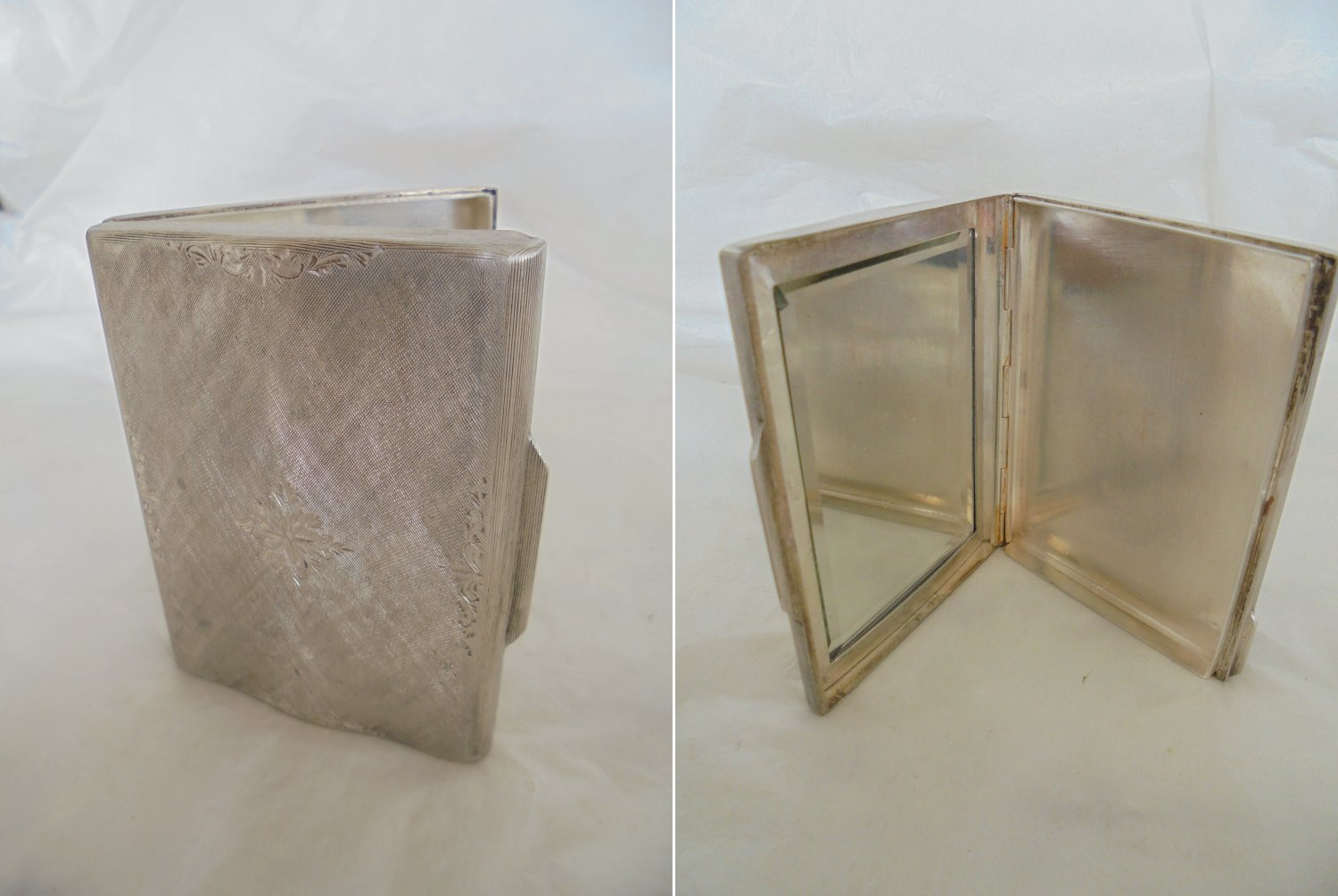 Make up case or pill BOX with mirror in SILVER 800 Original 1950s