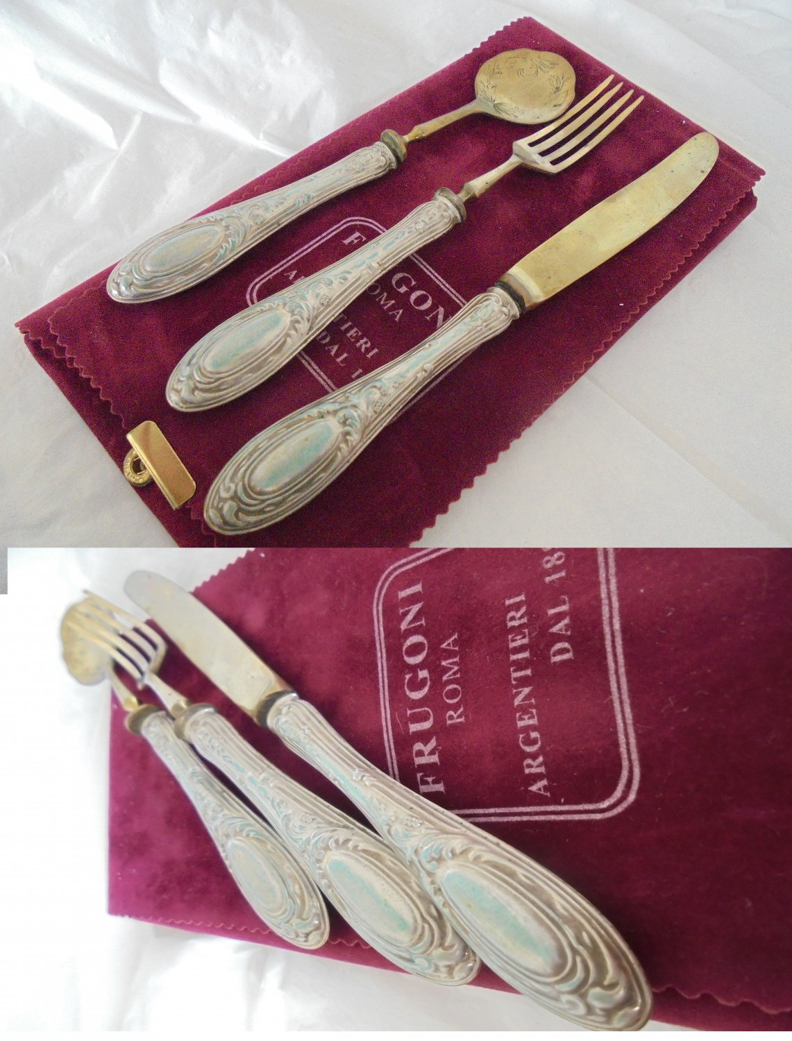 CHILD CUTLERY gift set for 1st year in SILVER 800 Spoon Fork Knife Original 1950s