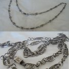 Long necklace in STERLING SILVER 925 AJS Mexico Flower filigree design Original