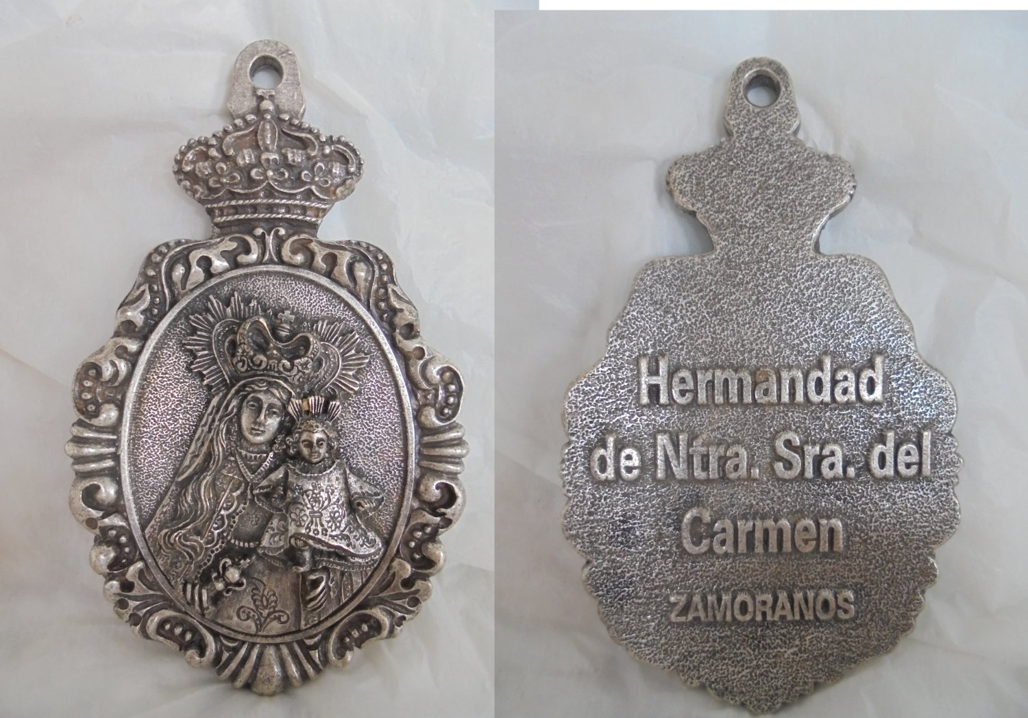Big MEDAL Pendent of Our Lady of Mount Carmel Spain Original 1970s
