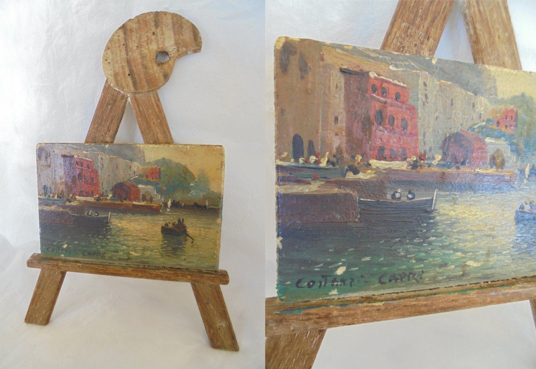 CAPRI ITALY Harbor Oil PAINTING on wood Original hand painted 1950s