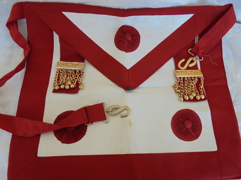 MASONIC LEATHER APRON Grand Master Original freemasonry masonery 1970s Italy Great East Italy Lodge
