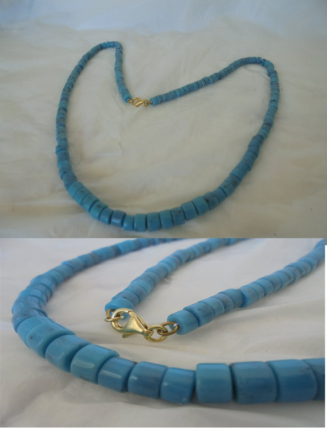NECKLACE in TURQUOISE and Silver sterling 925 gold plated Indians of Zuni USA 1980s