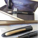 SHEAFFER 500 LEVER FILLER Fountain Pen black and gold Original 1950s in gift box
