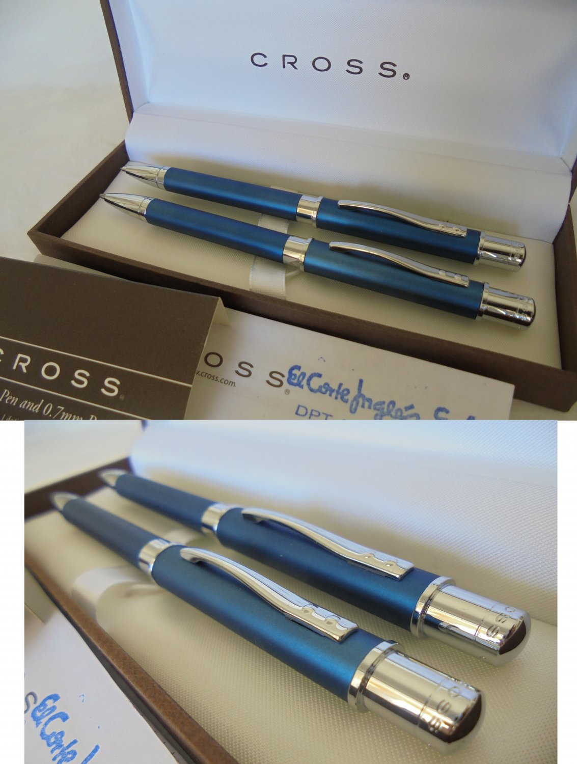 CROSS Ball point pen and Pencil set Metallic blue In gift box with garantee