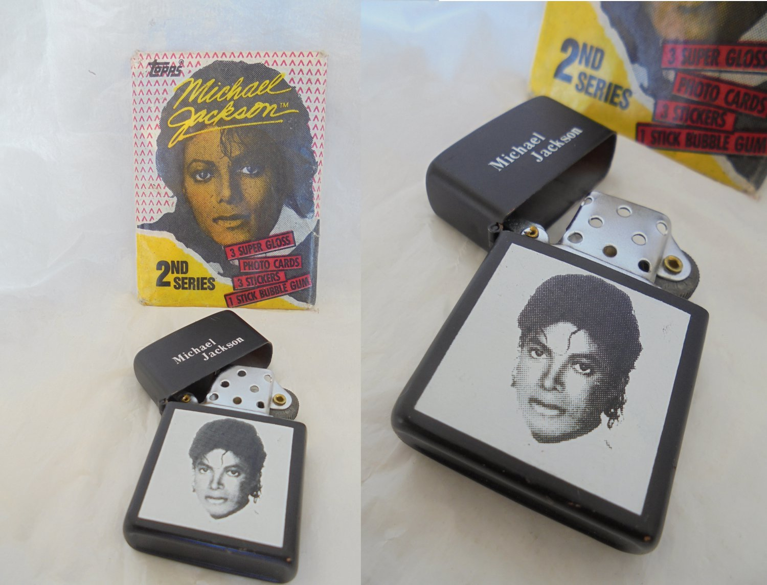 MICHAEL JACKSON Topps photo cards and bubble gum pack sealed with lighter 1980s