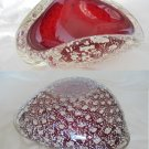 MURANO glass ITALY Original centre piece Bowl with inserts in SILVER from 1960s