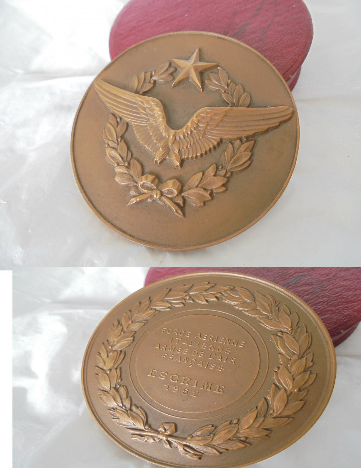 French BRONZE MEDAL of the Military French and Italian airforce Original 1952