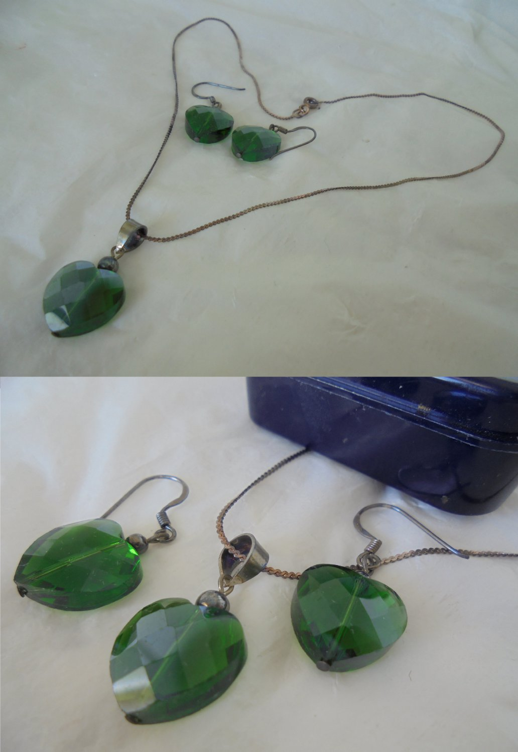EARRINGS and NECKLACE set in Sterling SILVER 925 and green Swarovski crystal Original in gift box