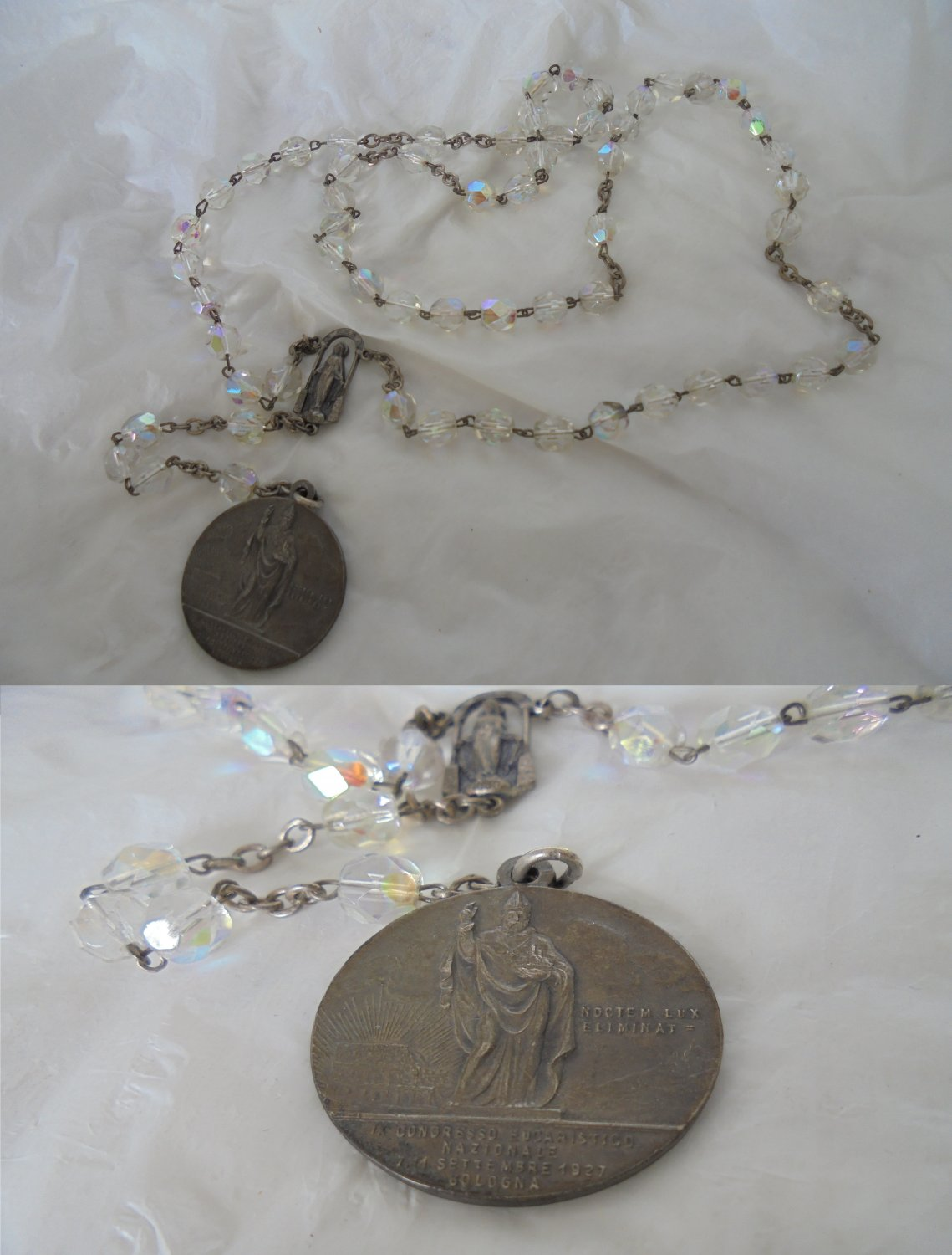 Praying ROSARY in Murano glass with medal eucharistic congress 1927 Made in ITALY