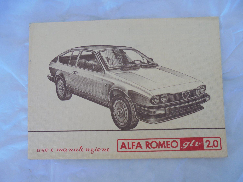 ALFA ROMEO gtv 2.0 manual book uso e manutenzione Original 1980