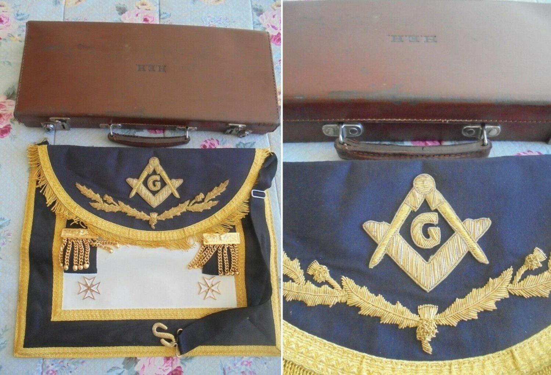 MASONIC LEATHER APRON black Grand Master Original freemasonry masonery 1960s Italy