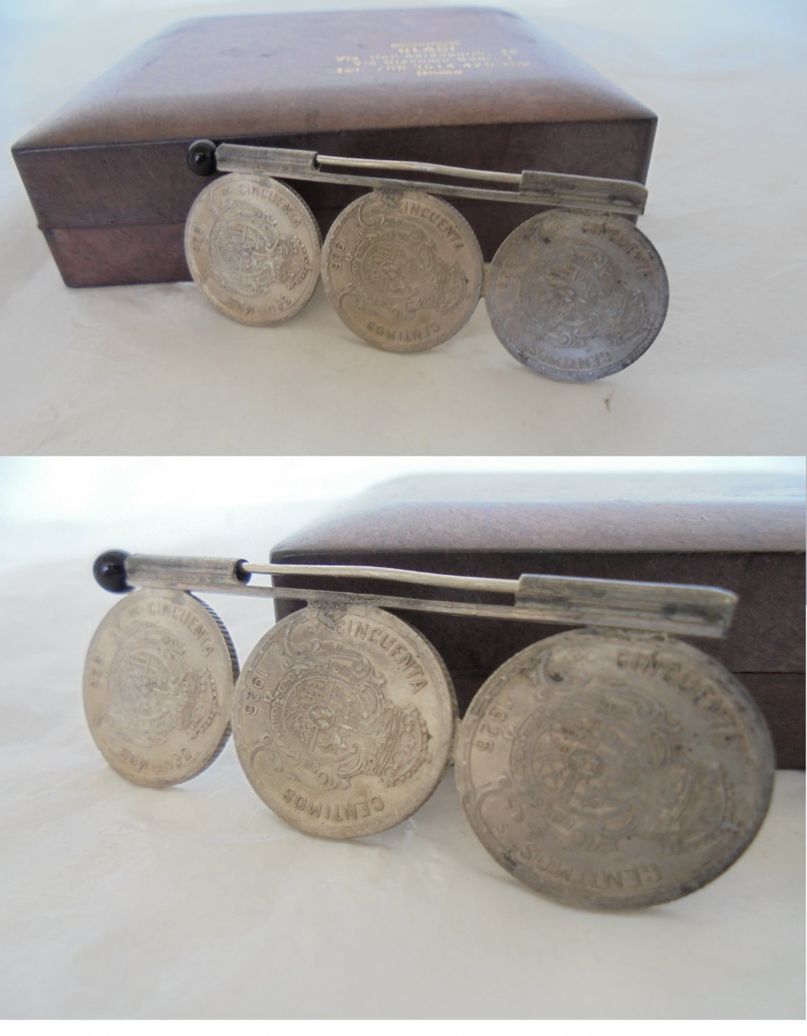 PIN brooch in sterling SILVER 925 with spanish coins of King Alfonso XII Original 1926