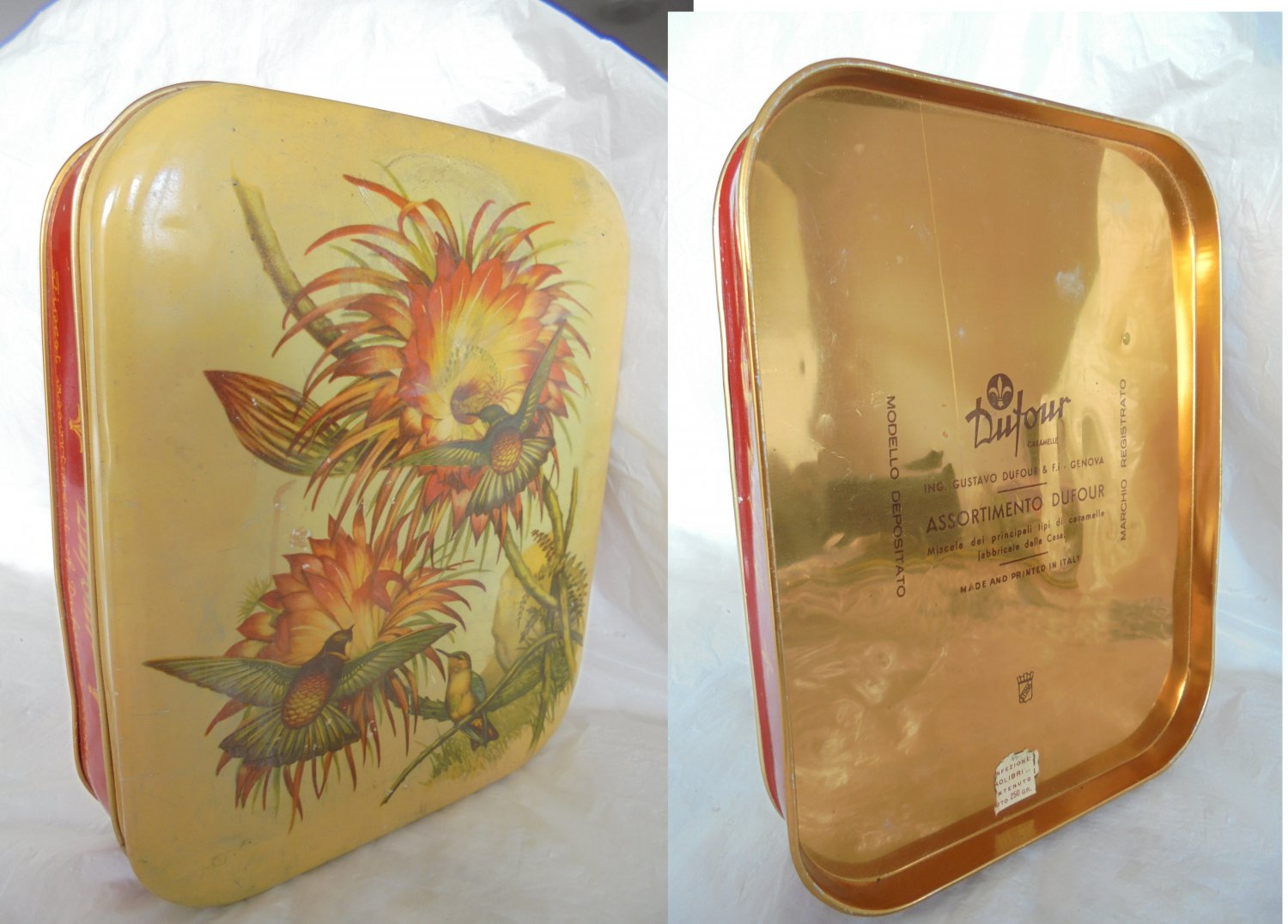 DUFOUR CARAMELLE tin candy box with flowers and birds Original 1960s