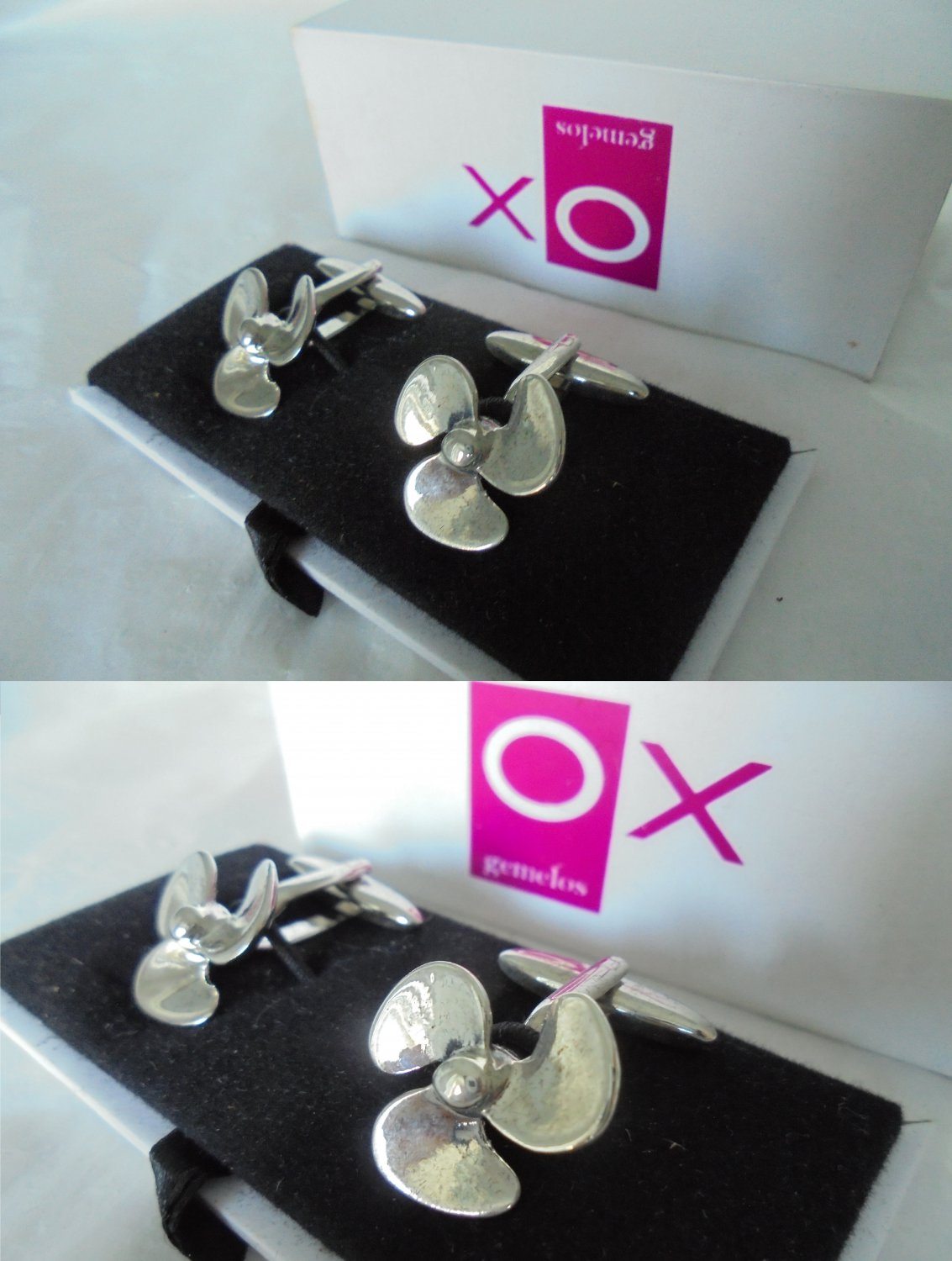 OX GEMELOS CUFFLINKS cuff links Naval Propellers New in gift box Made in Spain