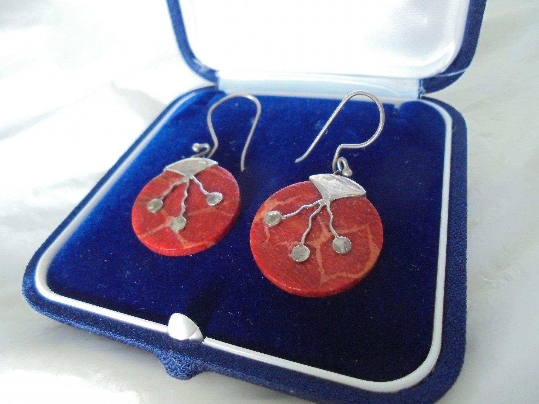 EARRINGS in STERLING SILVER 925 and brecciated jasper Original in gift box