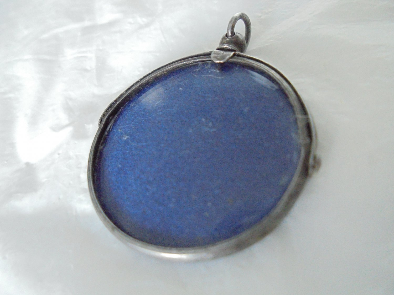 PICTURE photo holder FRAME charm pendant for necklace in SILVER 800 Original 1950s in gift box