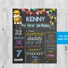 SALE! First Birthday Or Any Age Chalkboard Paw Patrol Printable Sign Boy or Girl